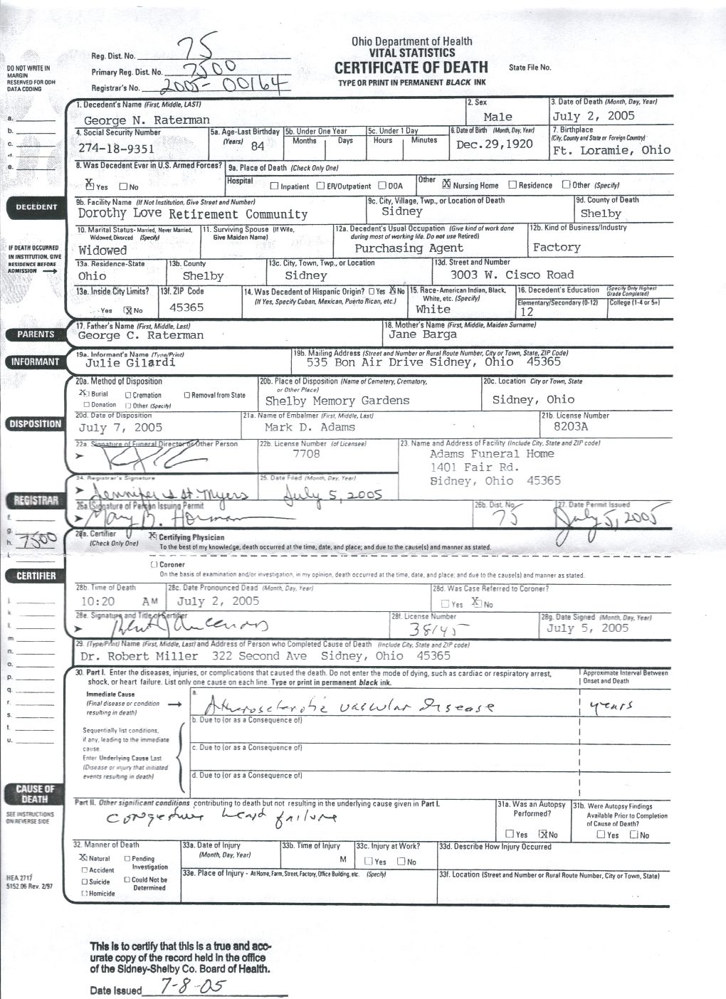 Ratermangeorgen sources 12 georges death certificate state of ohio department of health po box 15098 columbus oh 43215 aiddatafo Image collections
